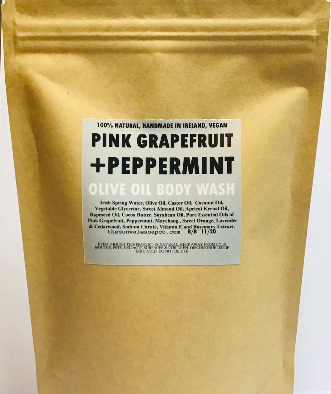 Pink Grapefruit And Peppermint Olive Oil Body Wash Refill Pouch