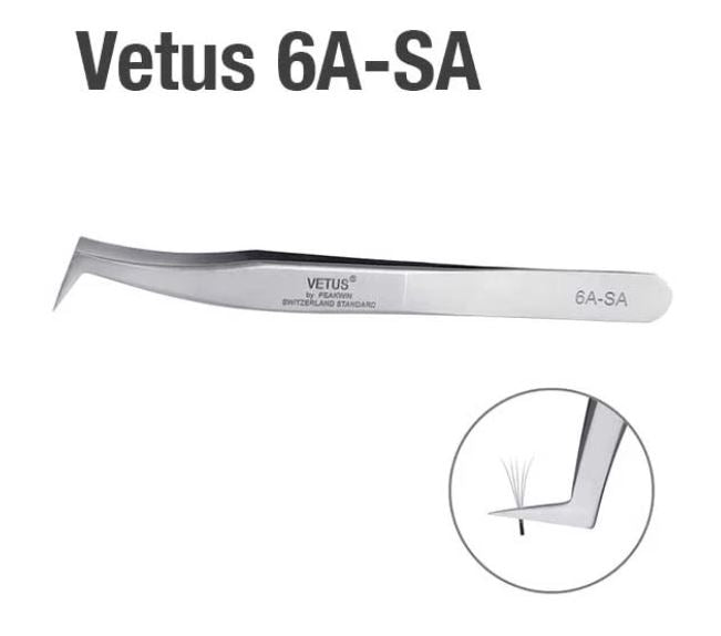 Vetus 6A - SA tweezers for Eyelash Extension Application - professional tweezers for perfecting your volume fans and eyelash placement.
