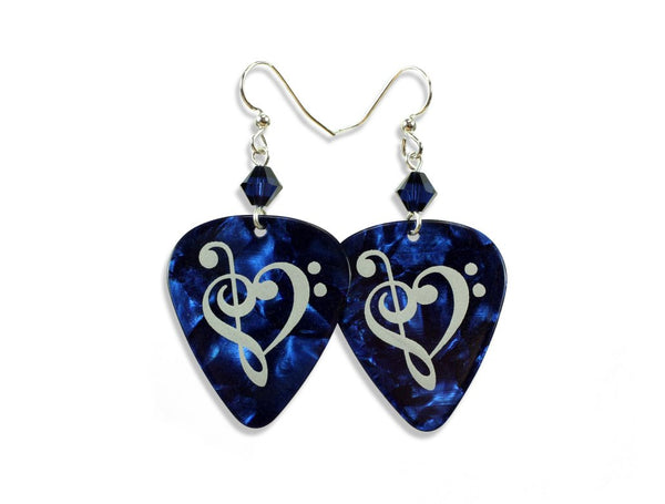 Blue pearloid guitar pick earrings.
