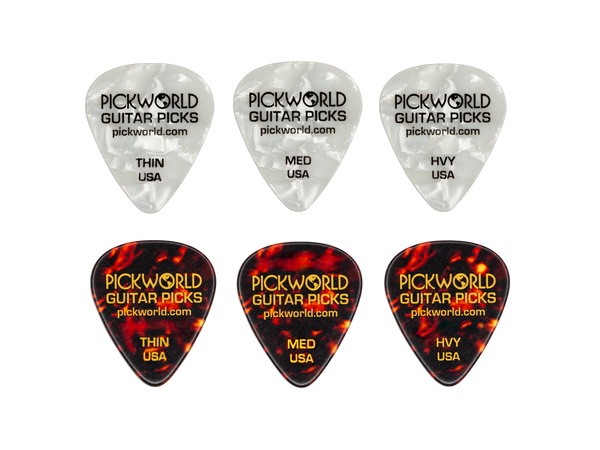 PickWorld Branded Picks - Celluloid - 12 pc Pick Pack