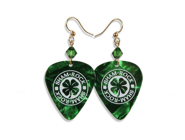 Green pearloid guitar pick earrings.