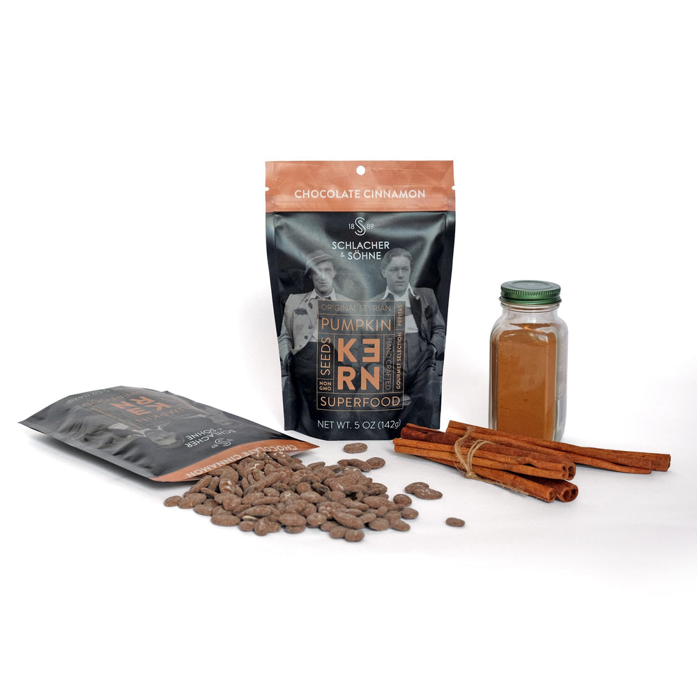 Schlacher & Söhne Styrian Orgnaic Pumpkin Seeds, 100% Pure & Natural, Chocolate Coated, Premium Quality Pepitas, Healthy Snacks, Raw, Fresh Superfood, Unsalted, Full of Proteins, Grown in Austria (Chocolate Cinnamon, 5oz) - Pumpkin Produce