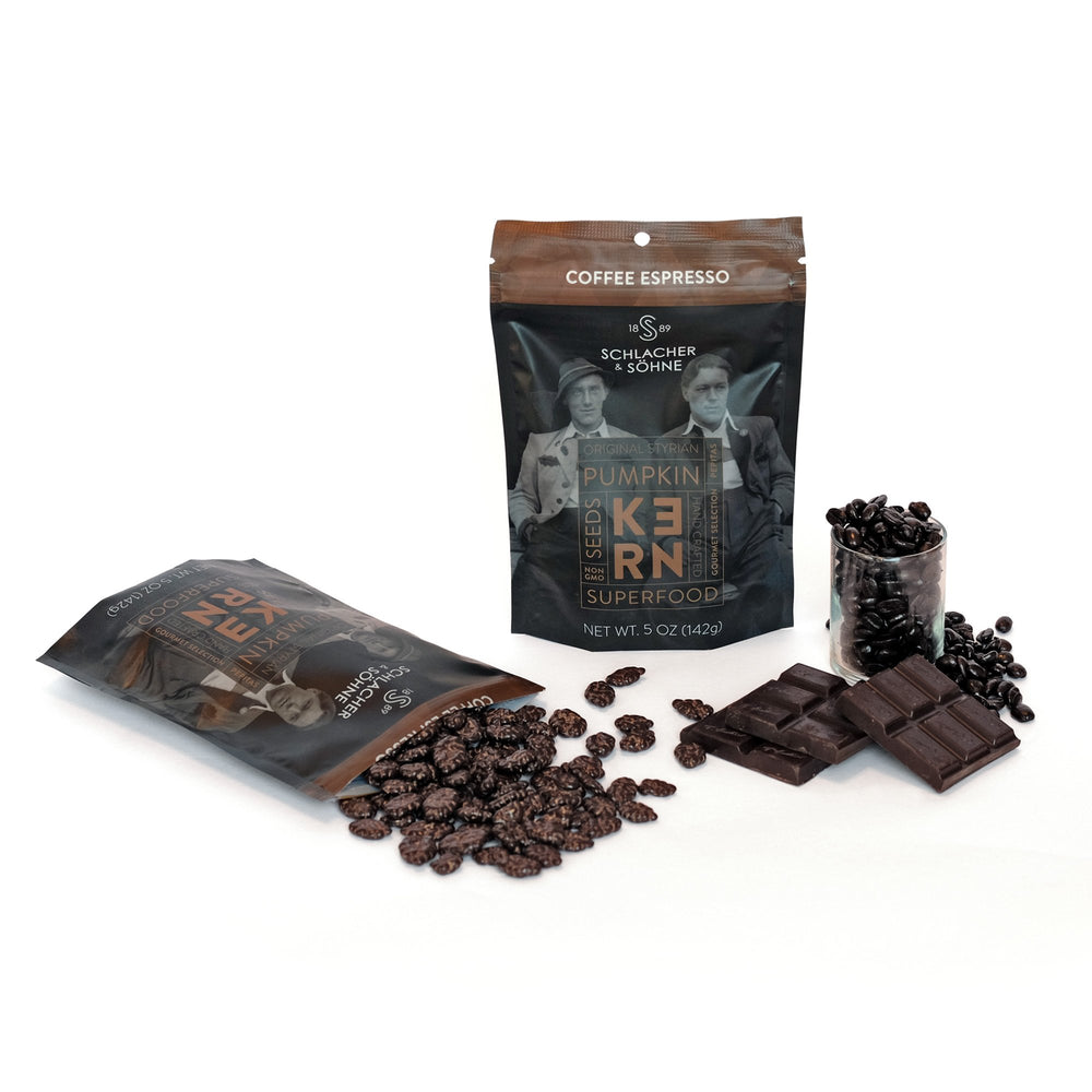 Schlacher & Söhne Styrian Orgnaic Pumpkin Seeds, 100% Pure & Natural, Chocolate Coated, Premium Quality Pepitas, Healthy Snacks, Raw, Fresh Superfood, Unsalted, Full of Proteins, Grown in Austria (Coffee Espresso, 5oz) - Pumpkin Produce