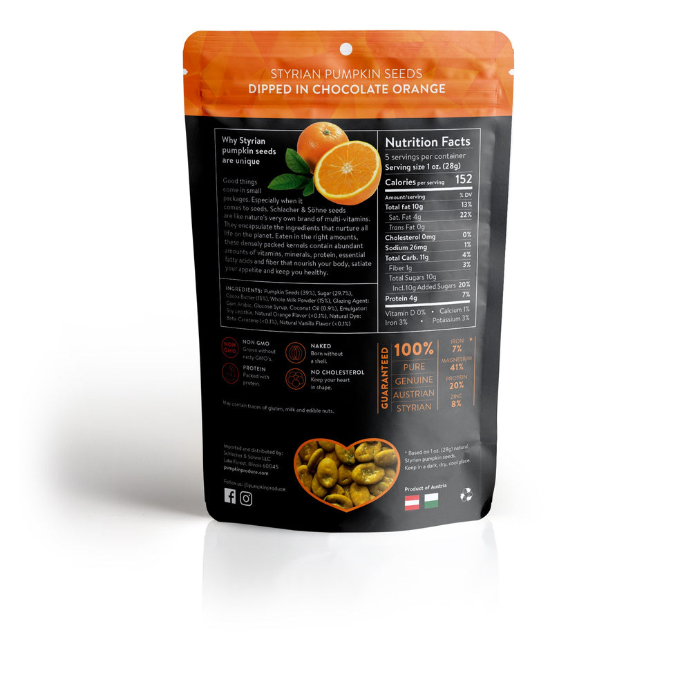 Schlacher & Söhne Styrian Orgnaic Pumpkin Seeds, 100% Pure & Natural, Chocolate Coated, Premium Quality Pepitas, Healthy Snacks, Raw, Fresh Superfood, Unsalted, Full of Proteins, Grown in Austria (Chocolate Orange, 5oz) - Pumpkin Produce