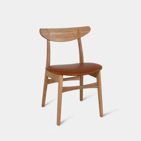 Oak Dining Chair Upholstered in Wool or Leather | CAROLIAH