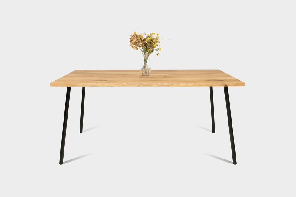 Mid Century Modern Oak Dining Table And Extendable Dining Table on Industrial Metal Legs | MIRA Dining Table