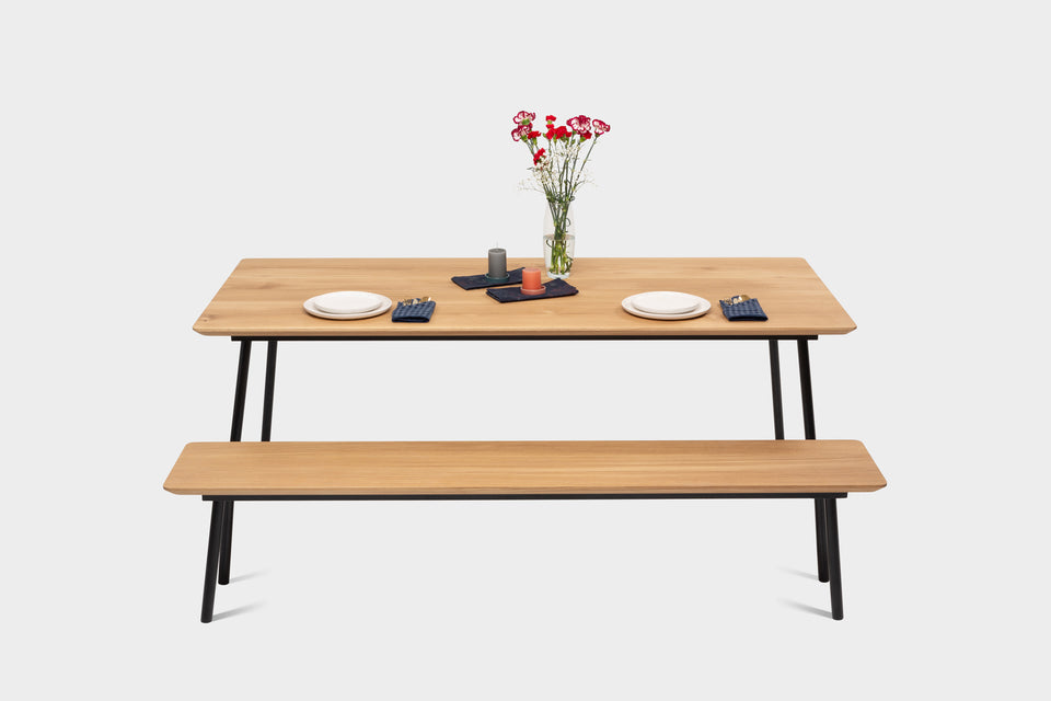 Mid Century Modern Oak Dining Table & Bench on Metal Legs | MARTA SET