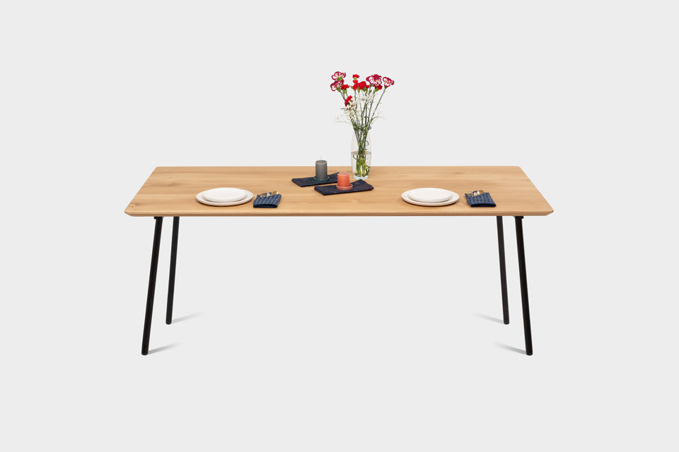 Mid Century Modern Oak Dining Table on Metal Legs | MARTA Dining Table