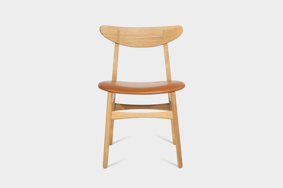 Oak or Walnut Dining Chair Upholstered in Wool or Leather | CAROLIAH-Hardman Design