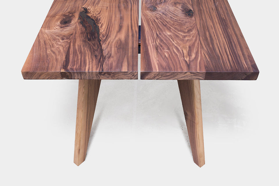 Walnut Dining Table on Handcrafted Wooden Legs | AMBER