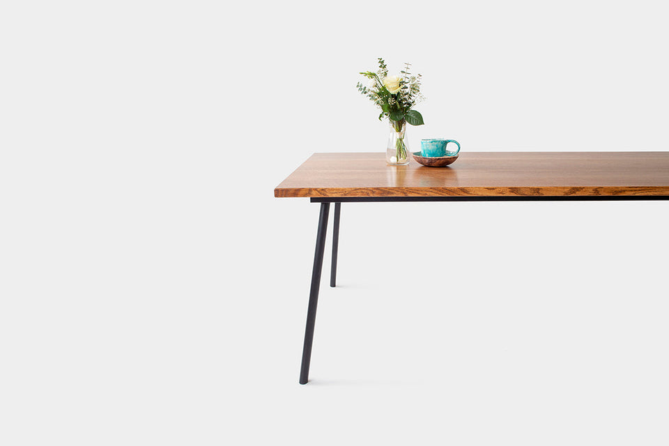 Mid Century Modern Oak Dining Table on Industrial Metal Legs | MIRA