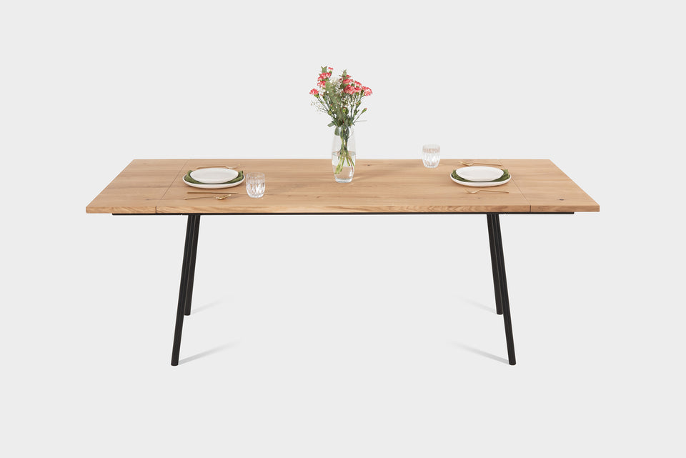 Mid Century Modern Oak Extendable Dining Table on Industrial Metal Legs | MIRA Extendable