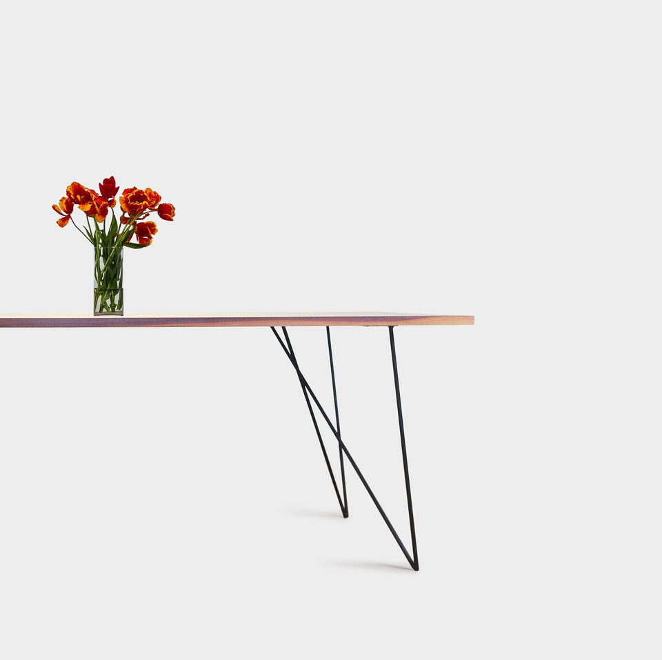 Bauhaus Walnut Dining Table on Metal Legs | AEMILIA-Dining Table-Liam Hardman-Hardman Design