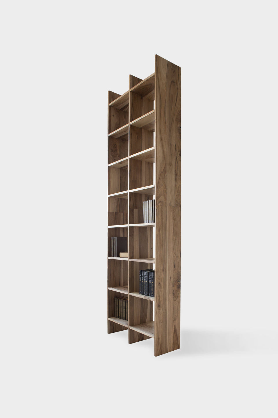 Contemporary European Walnut Bookcase | AGATA-Bookcase-Liam Hardman-Hardman Design