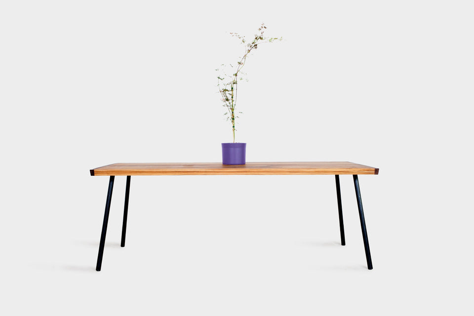 Dining Room Table made from Teak and Walnut on Steel Rod Legs | MYLA-Dining Table-Liam Hardman-Hardman Design