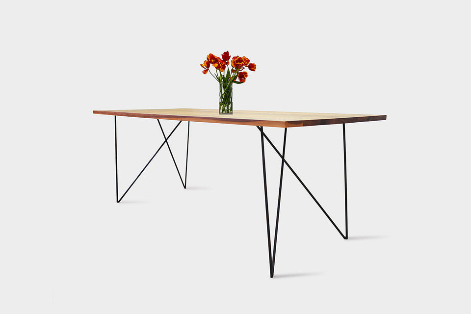 Bauhaus Walnut Dining Table on Metal Legs | AEMILIA