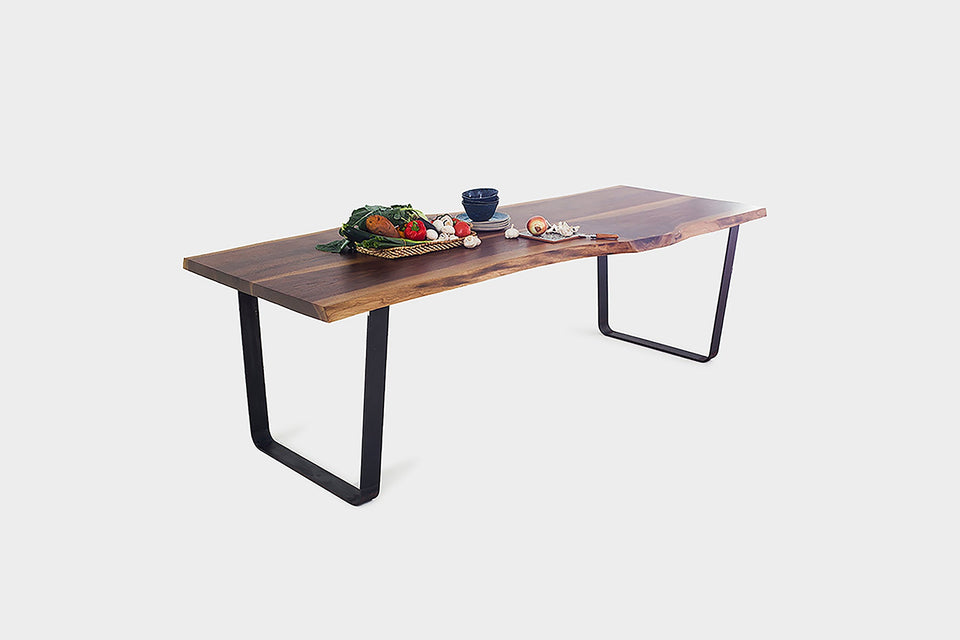 Live Edge Dining Table on Steel U-Legs Made from Walnut | JOLIE