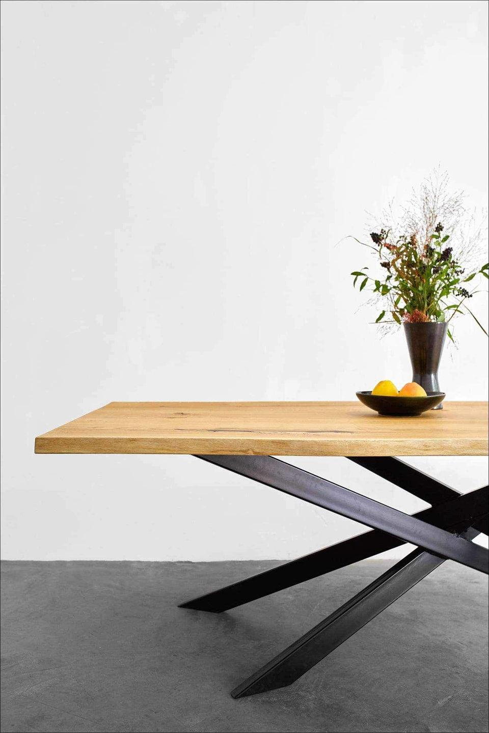 Industrial Bauhaus Table in Oak And Cross Steel Leg | XANTHA-Dining Table-Liam Hardman-Hardman Design