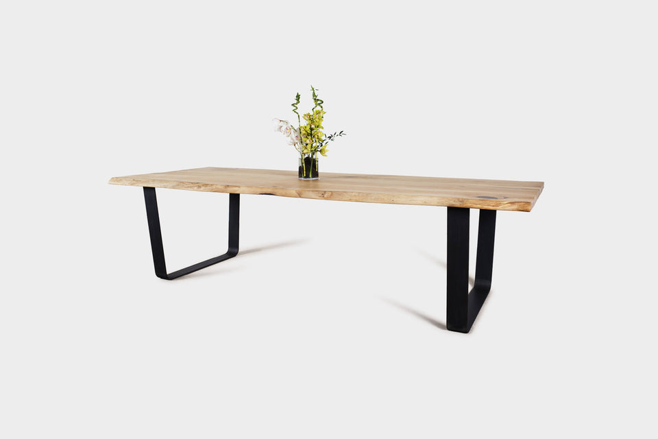 Live Edge Dining Table on Steel Legs Made from two Oak Boards | JULIA-Hardman Design