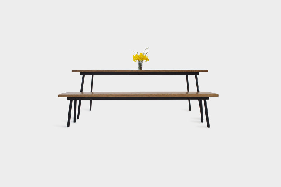 Mid Century Modern Oak Dining Set on Industrial Steel Legs | MIRA SET-Hardman Design