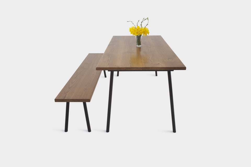 Mid Century Modern Oak Dining Set on Industrial Steel Legs | MIRA SET-Dining Table-Liam Hardman-Hardman Design