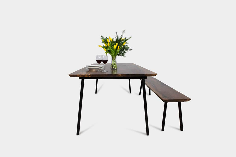 Mid Century Modern Walnut Dining Table & Bench Set | MARTA Set-Dining Set-Hardman Design Furniture-Hardman Design