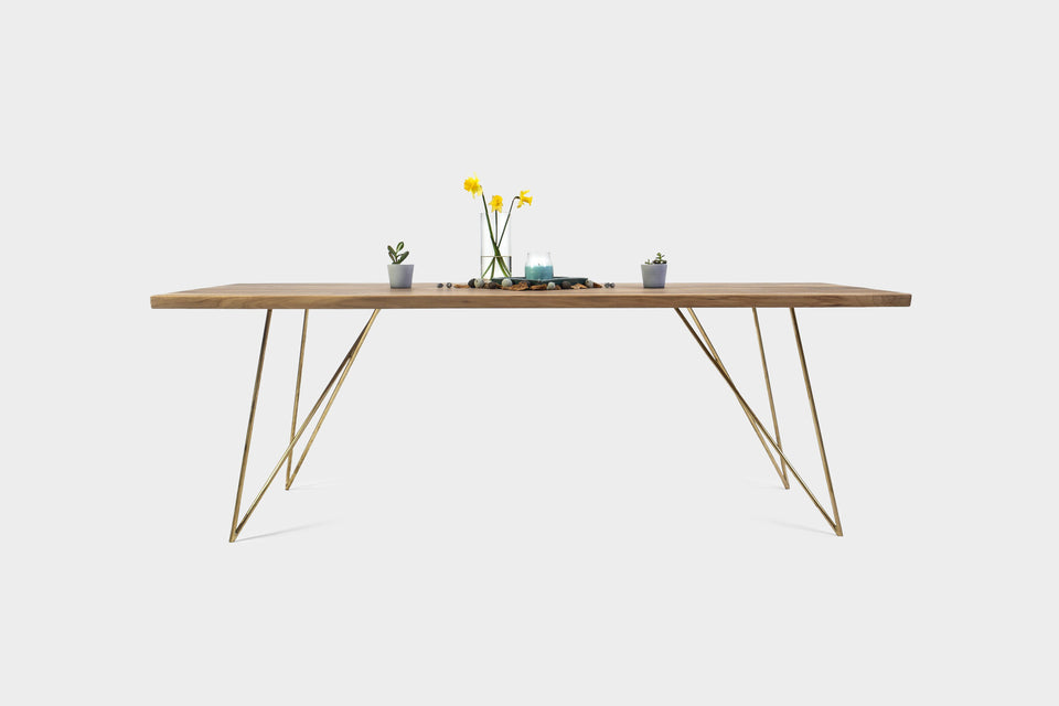 Mid Century Modern Walnut Dining Table on Brass Legs | EMILIE-Hardman Design
