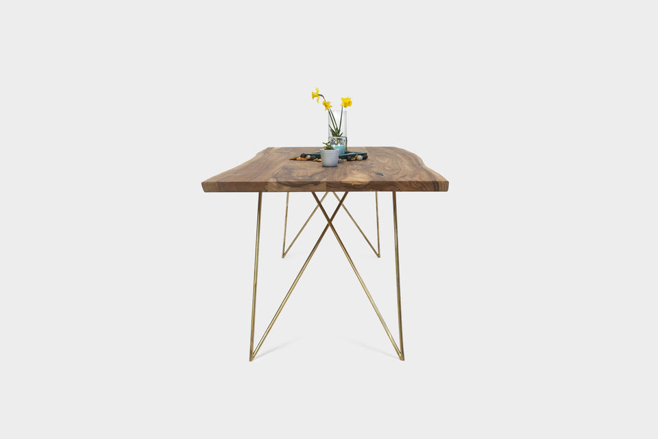 Mid Century Modern Walnut Dining Table on Brass Legs | EMILIE-Dining Table-Liam Hardman-Hardman Design