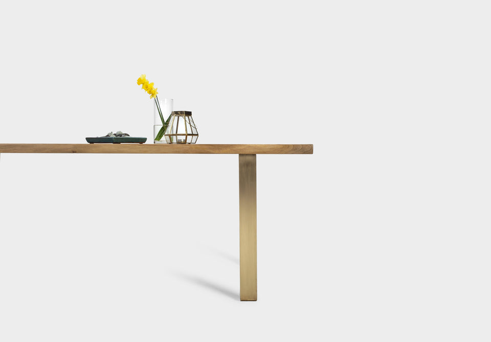 Walnut Dining Table on Brass U-Legs | MILANO-Dining Table-Liam Hardman-Hardman Design