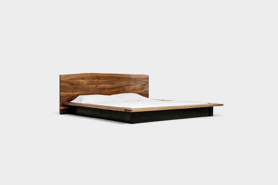 Walnut Platform Bed Frame and Headboard in Twin, King and Queen Size | KAATJE-Hardman Design