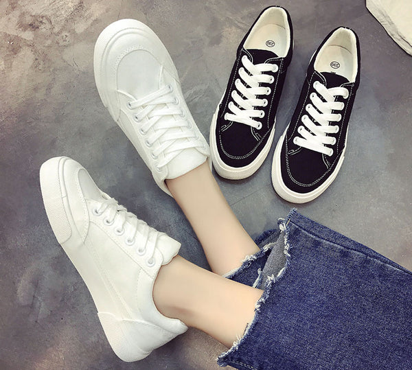 Women sneakers new arrivals fashion lace-up black/white women shoes