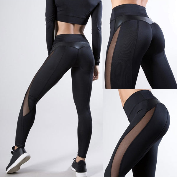 Trendy Women High-waisted  Mesh Leggings
