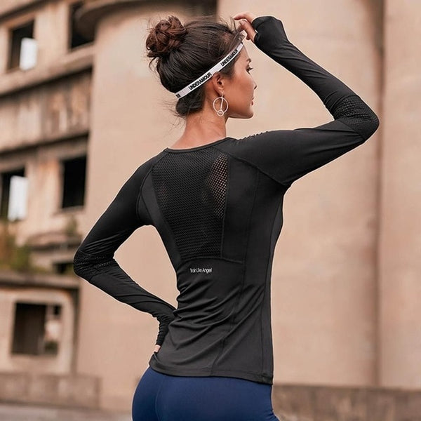 Long Sleeve Gym Woman Sports Workout Top