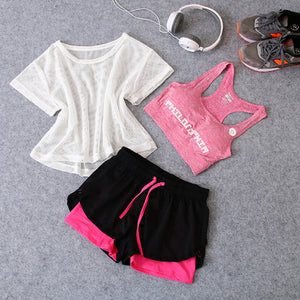 New 3 in 1 Running Sport T-Shirt+Bra+Shorts