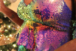 Rainbow Ruffle Sequin Dress