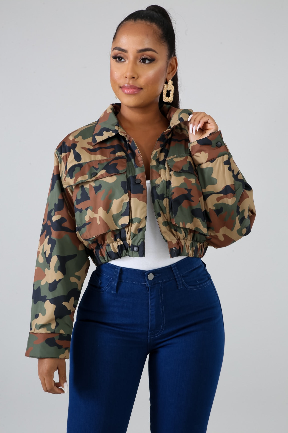 Camo Cropped Puffer Jacket