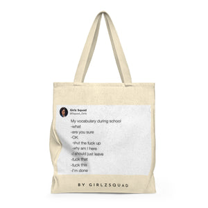 """Vocabulary during school"" Large Tote Bag"