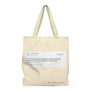 """Feminist tweet ""Large Tote Bag"
