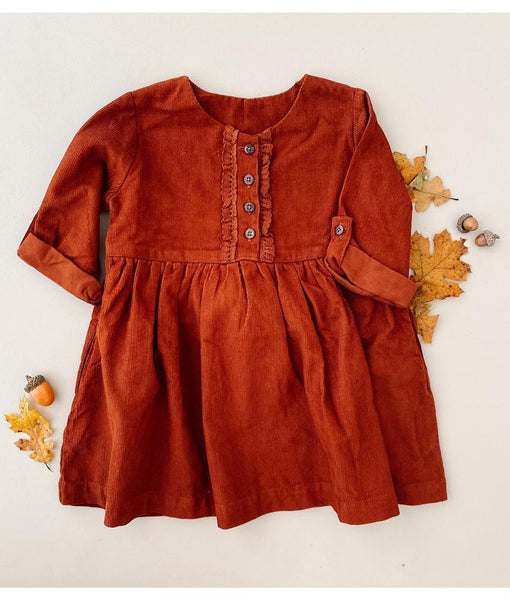 RUST CORDUROY DRESS - Ren & Rouge