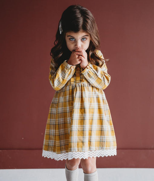 GOLD PLAID DRESS - Ren & Rouge