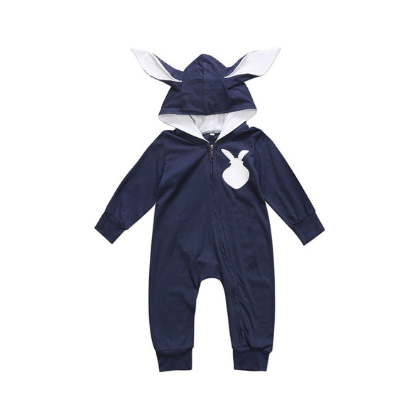 Bunny Baby Romper with Bunny Ears and Fluffy Tail