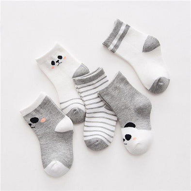 Charming Comfortable Cotton Baby Socks with Cute Bear, Panda and Expression Prints (5 Pairs)