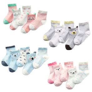 Comfortable, Charming Breathable Cotton Baby Socks with cute Bear and Kitty prints (5 Pairs)