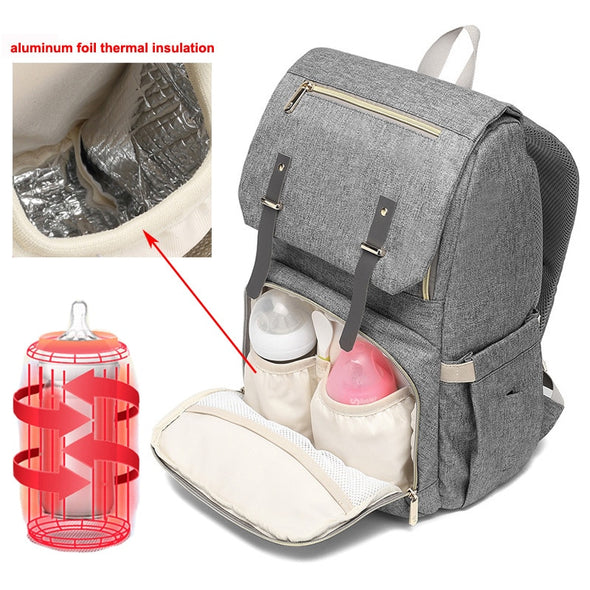 Premium, Elegant and Functional Large Capacity Diaper Backpack with USB Charging, Heat Bottle of Milk on the Go!