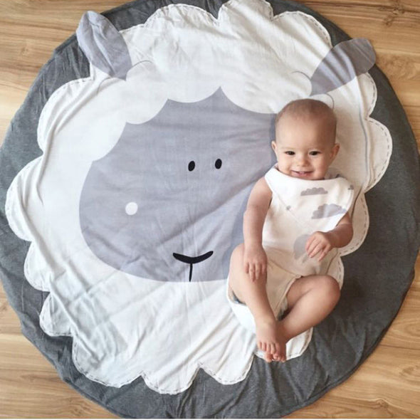 90CM Kids Play Game Mats Round Carpet Rugs Cotton Animals Play Mat Newborn Infant Crawling Blanket Floor Carpet Baby Room Decor