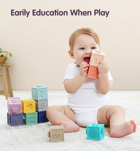 3D Embossed Baby Building SILICONE BPA FREE Blocks 12pcs/set for Teething, Swimming and Learning Stacking, Shapes, Numbers, Colors and More!