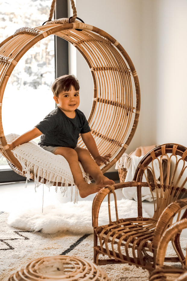 ROUND HANGING RATTAN CHAIR KAI JUNIOR - Monnarita - Handmade products