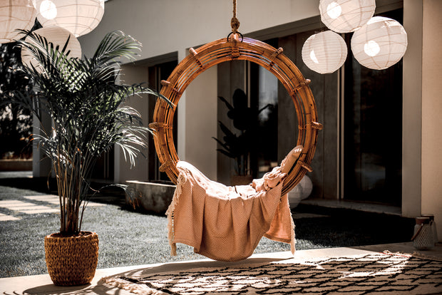 ROUND HANGING RATTAN CHAIR KAI - Monnarita - Handmade products