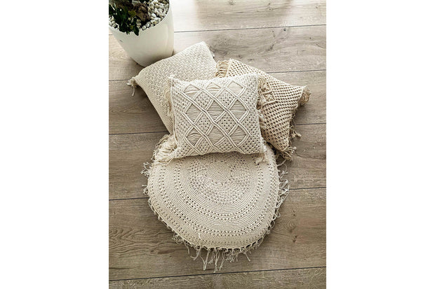 Round macrame pillowcase - Monnarita - Handmade products