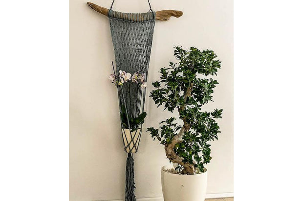 LONG SINGLE MACRAME FLOWERER BED WITH WOOD - Monnarita - Handmade products